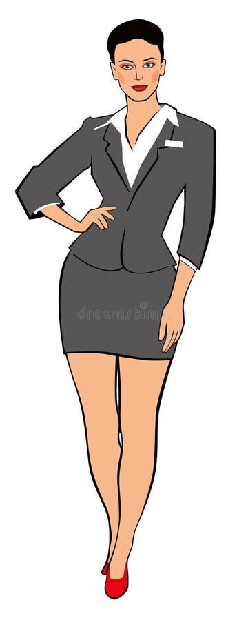 Bedrijfsvrouwenmanager in een grijs kostuum royalty-vrije illustratie