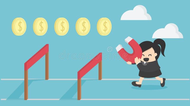 Bedrijfsvrouwensprong over hindernis, zaken, uitdaging, risico royalty-vrije illustratie