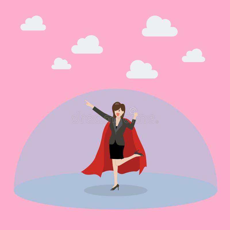 Bedrijfsvrouwensuperhero met beschermingsmacht vector illustratie