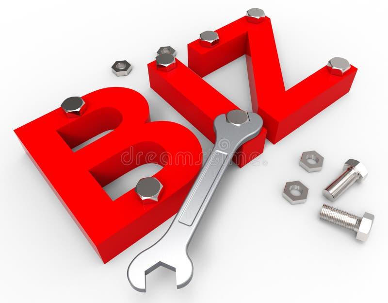 Bedrijfsword betekent Biz-het Uitvoeren en koopt vector illustratie