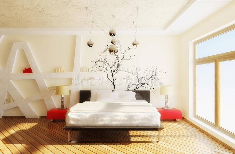Bedroom. Modern interior bedroom with black bed and white walls stock photos
