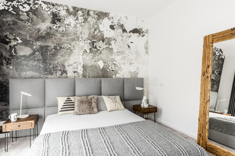 Bedroom with abstract grunge wall royalty free stock image