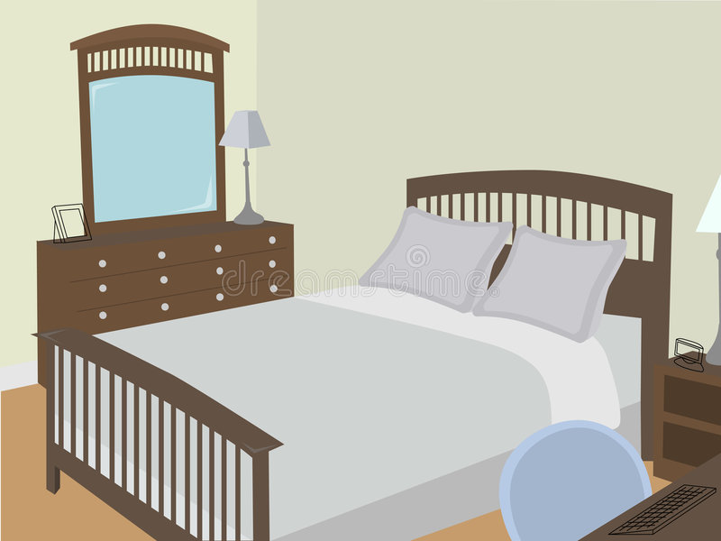 Bedroom at an angle with stylized objects