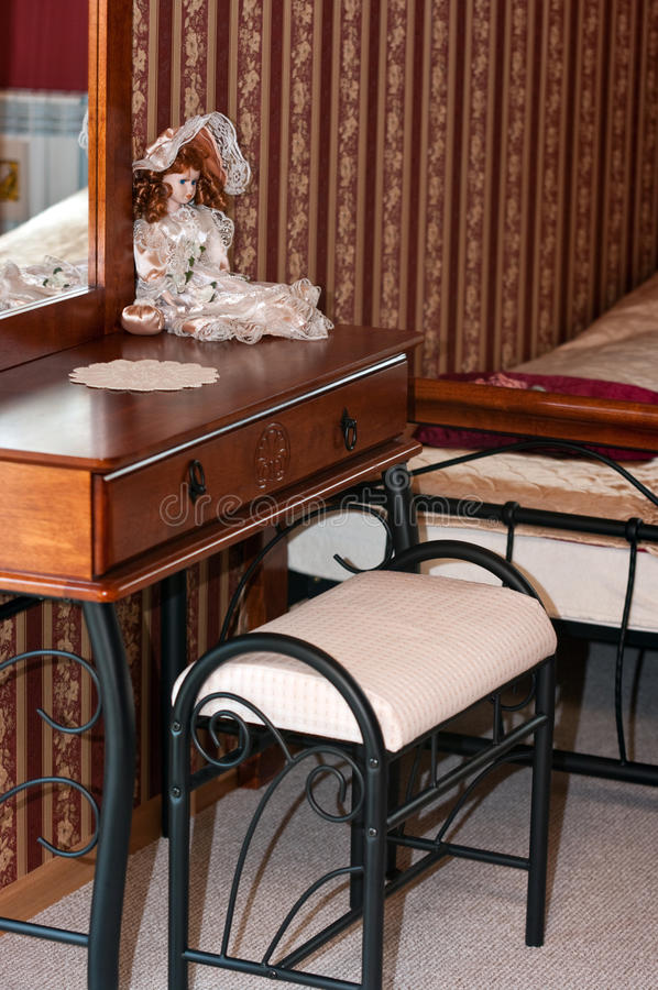 Bedroom antique furniture. Bedroom with antique furniture and wallpaper royalty free stock images