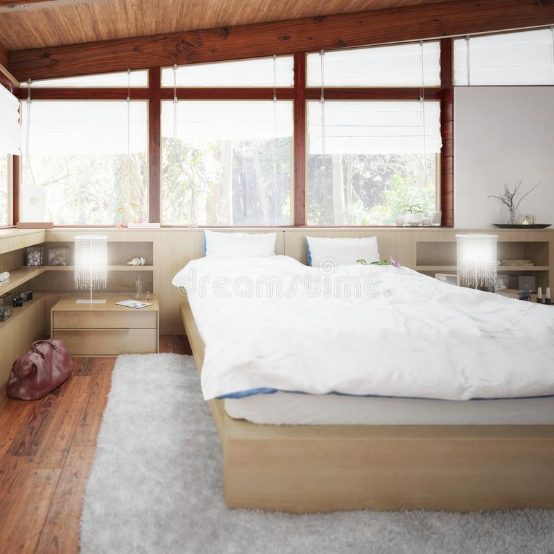 Patioausbau zum Schlafzimmer Focus vector illustration