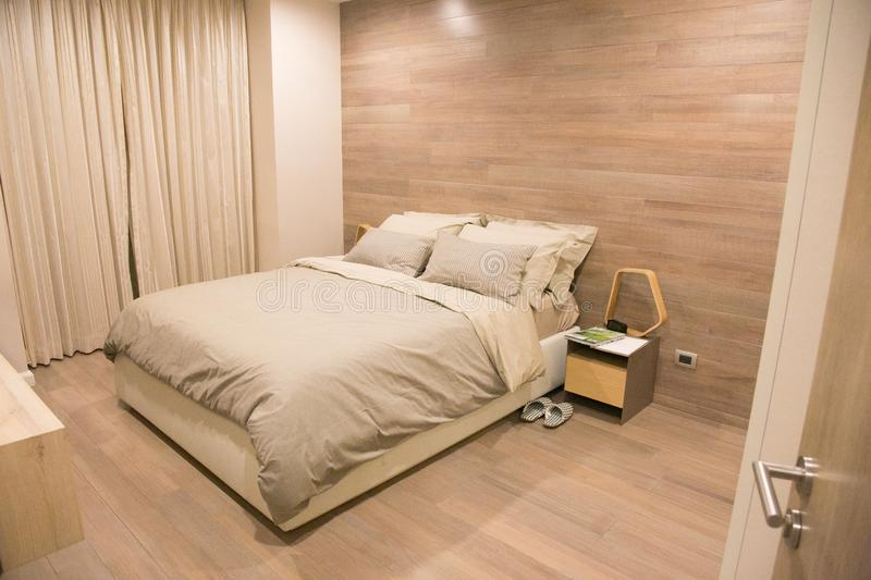 Modern and luxury bedroom decoration royalty free stock images