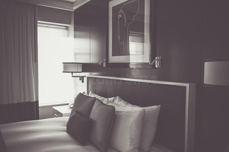 Bedroom in black and white stock image