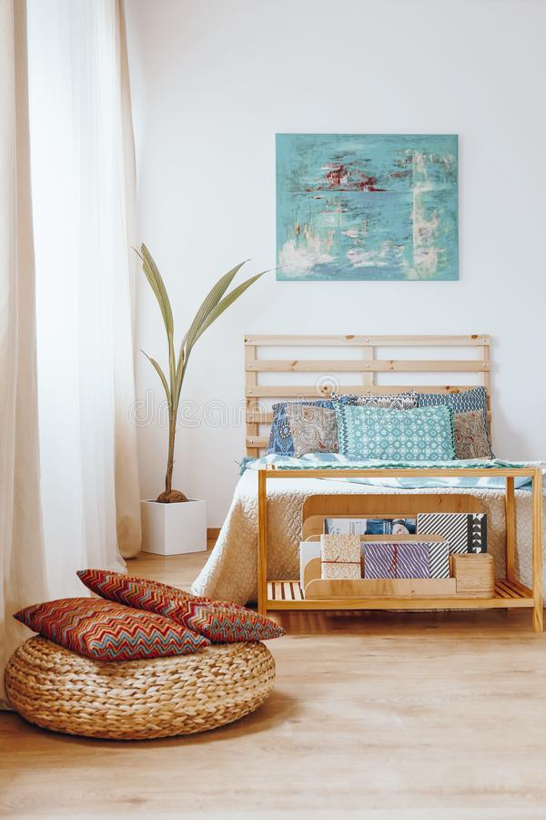 Bedroom in bohemian style royalty free stock photos