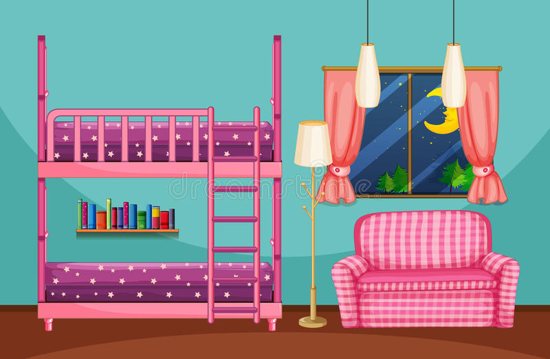 Bedroom with bunkbed and pink sofa. Illustration royalty free illustration