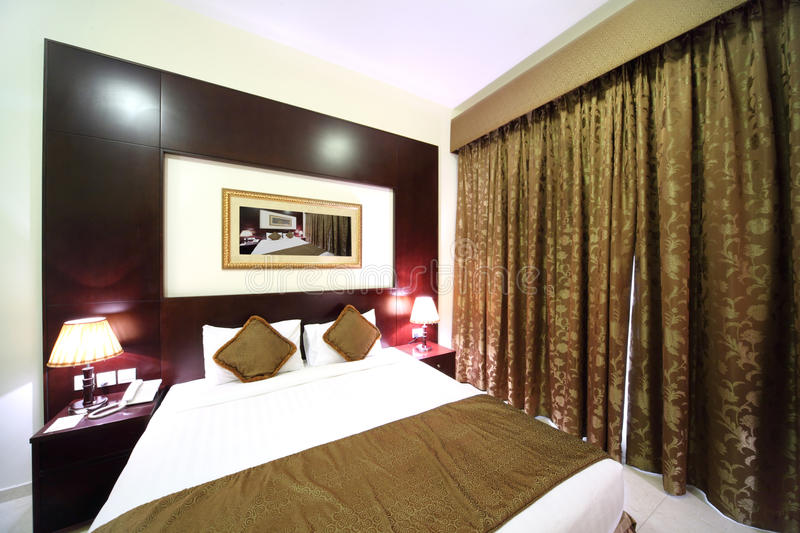 Download Bedroom With Closed Curtain And Big Bed Stock Image - Image: 15522017