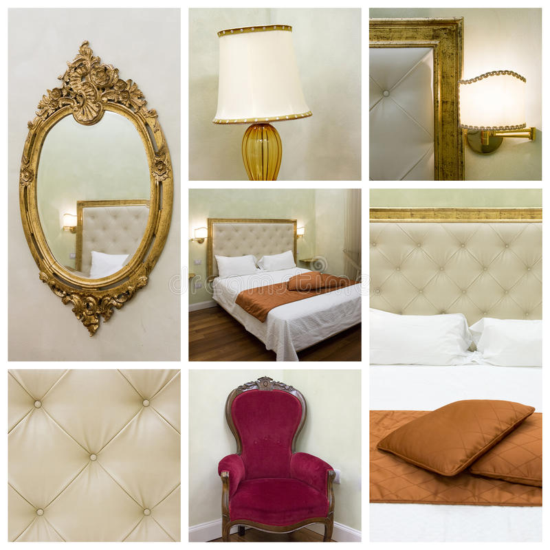 Bedroom collage stock images