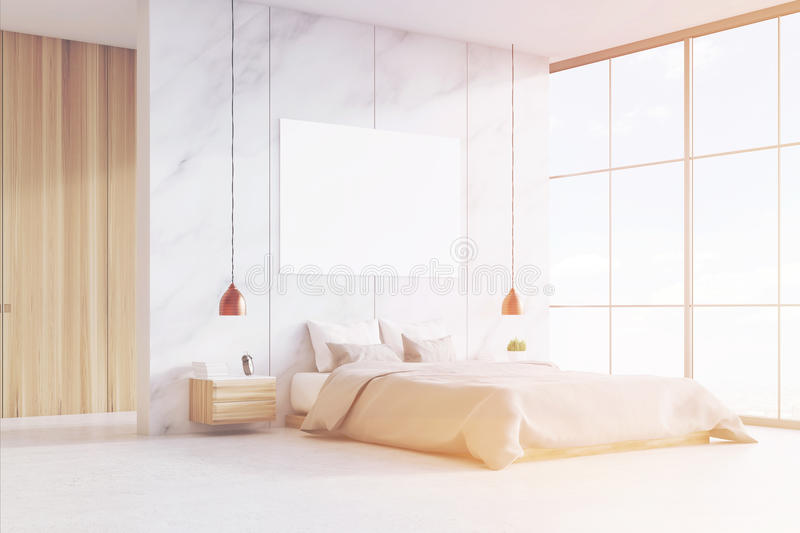 Download Bedroom With Double Bed And Poster, Toned Stock Illustration - Image: 83722066