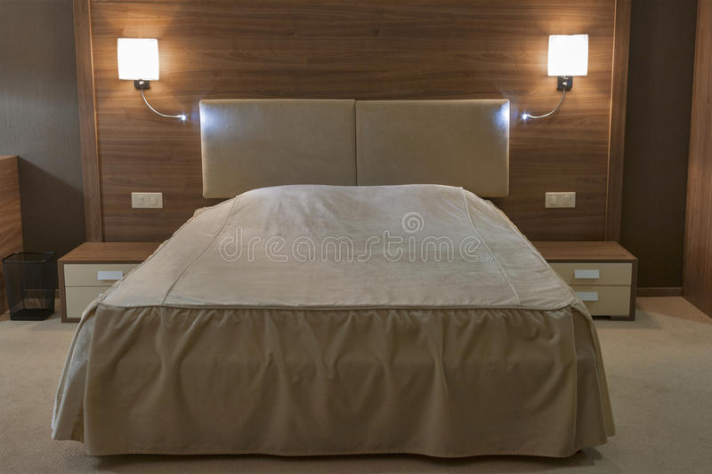 Bedroom with double bed royalty free stock photo