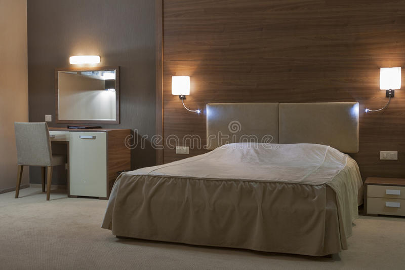 Bedroom with double bed royalty free stock image