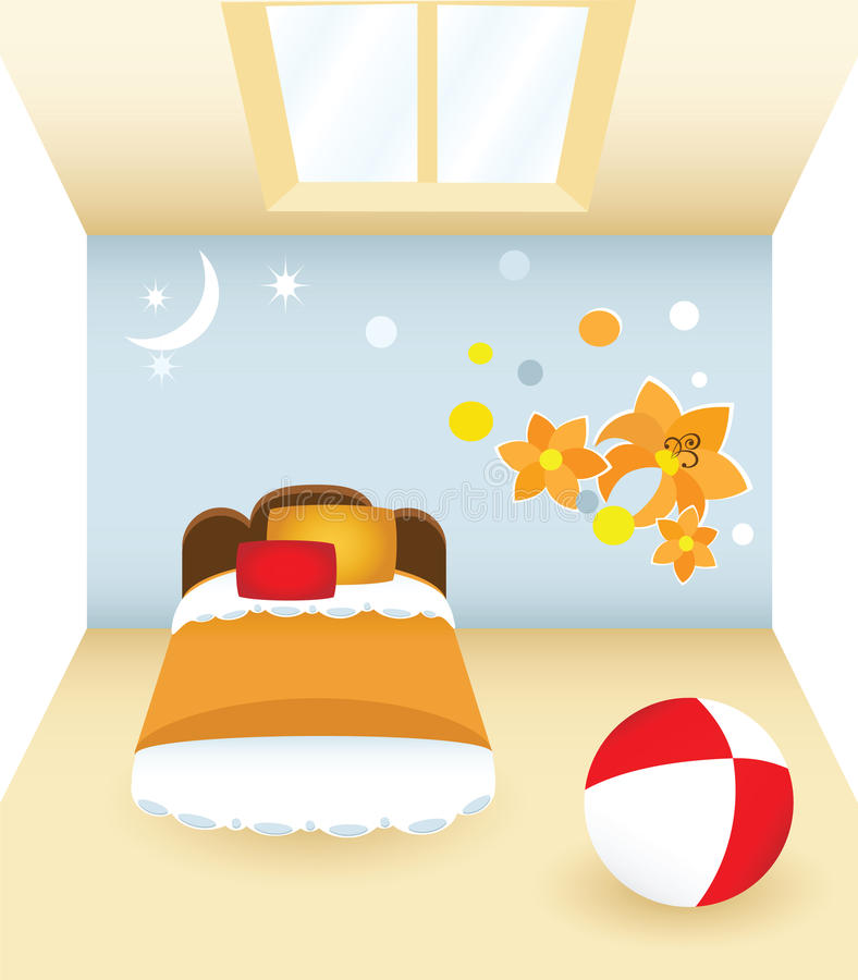 Bedroom with flower vector illustration