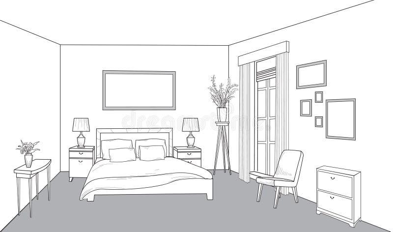 Bedroom Furniture. Interior Outline Sketch. Vintage Style ...