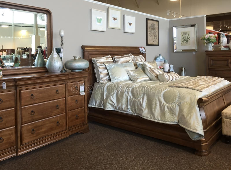 Bedroom furniture selling. At furniture market in TX, USA stock images