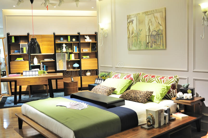 Bedroom furniture show. Modern bedroom furniture for sale in a shopping mall,at wuxi city china royalty free stock photography