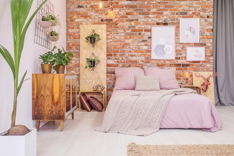 Bedroom with green decorative plants royalty free stock images