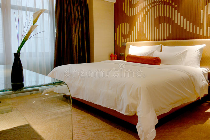 Bedroom of hotel royalty free stock photography