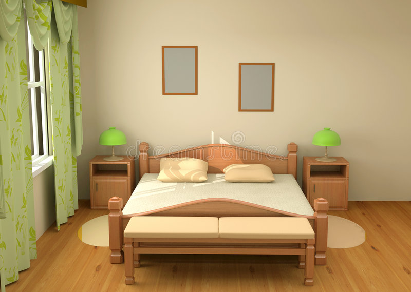 Download Bedroom interior 3d stock illustration. Image of bedroom - 4814212