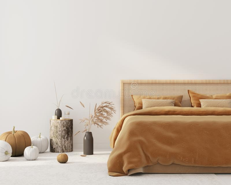 Bedroom interior  with autumn colored bedding  and decoration for Halloween vector illustration