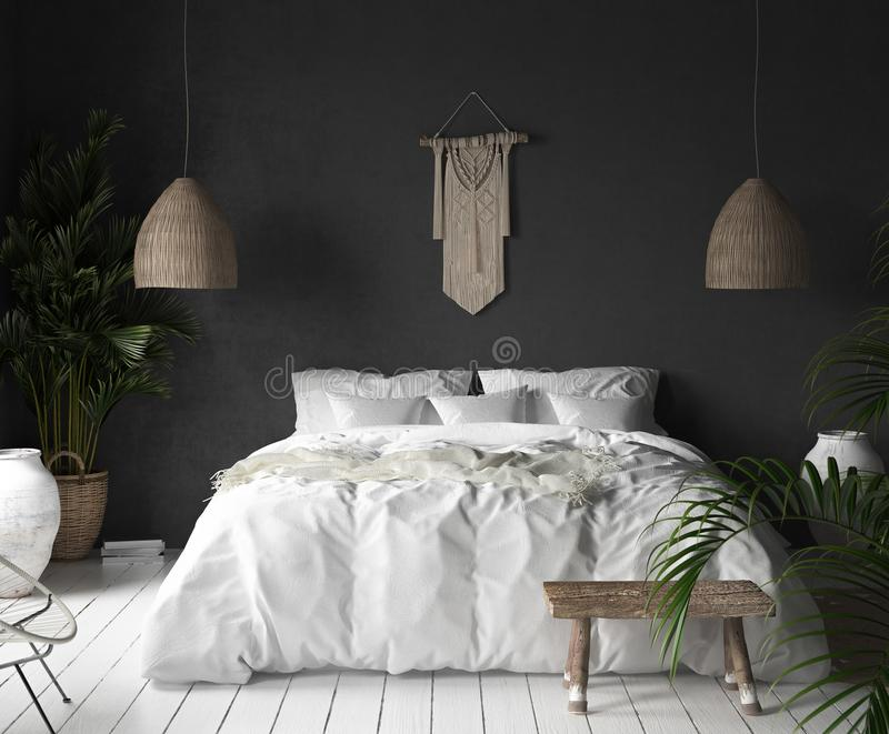 Bedroom interior with black wall,boho style decor and white bed. 3d render vector illustration