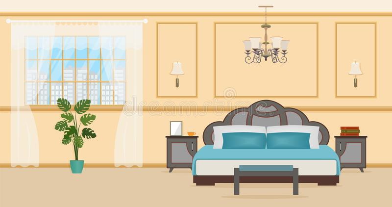 Bedroom interior design with furniture including bed, bedside tables, plant and window. Domestic room interior. Vector illustration vector illustration