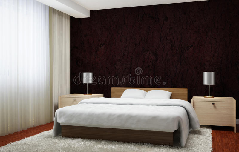 Bedroom interior executed in dark brown tones with light wood furnishings and white carpet. vector illustration