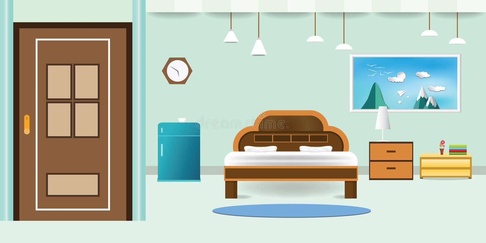 Bedroom interior flat design relax that have door refrigerator blue cabinet, picture frame sky cloud landscape on mountain, in wal stock illustration