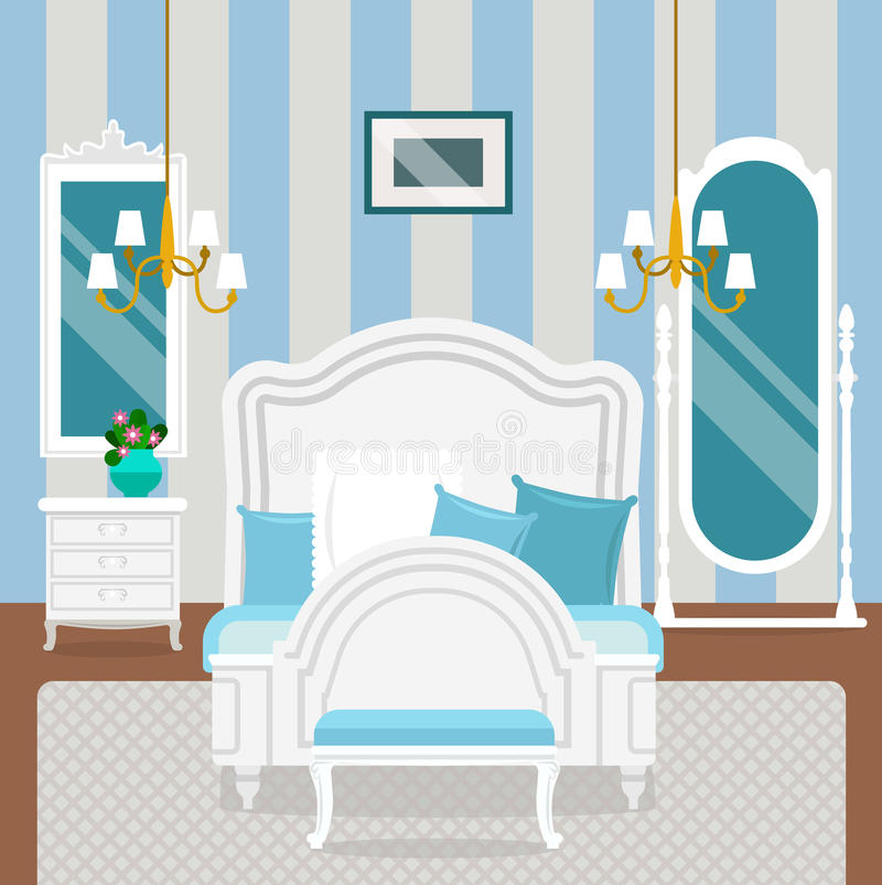 Bedroom interior with furniture in classic style. Bedroom interior with furniture and decoration in classic style. Bedroom interior cartoon vector illustration stock illustration