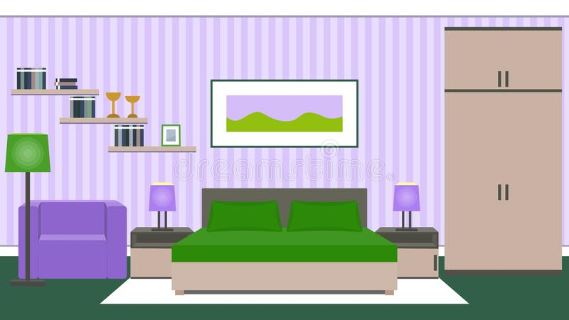 Bedroom interior in green and violet colors. Vector illustration. Bedroom interior with furniture - bed, bedside tables, wardrobe, armchair in green and violet royalty free illustration