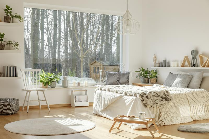 Bedroom interior with nice view. Out the window, king-size bed, chair, rug and ornaments stock images