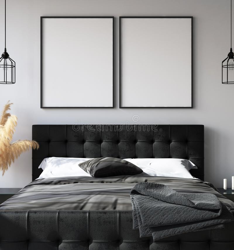 Bedroom interior with poster mockup, modern style. 3d render royalty free stock image