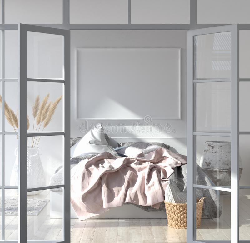 Bedroom interior with poster mockup, Scandinavian style. 3d render stock photography