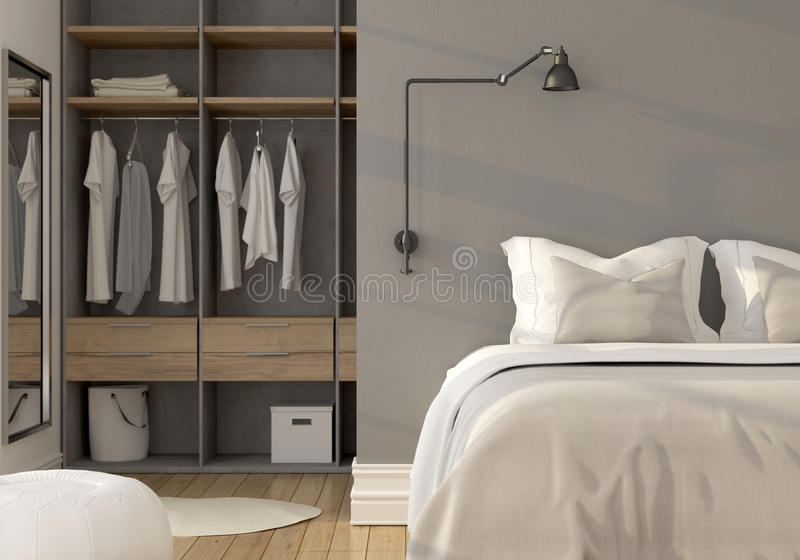 Bedroom interior with wardrobe stock illustration