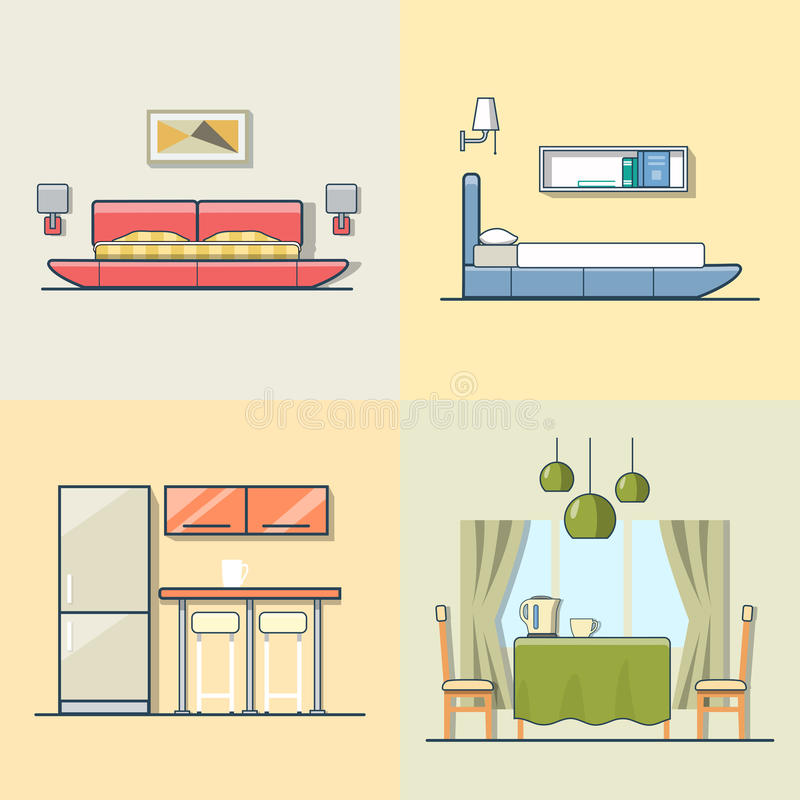 Download Bedroom Kitchen Living Dining Room Interior Indoor Stock Vector