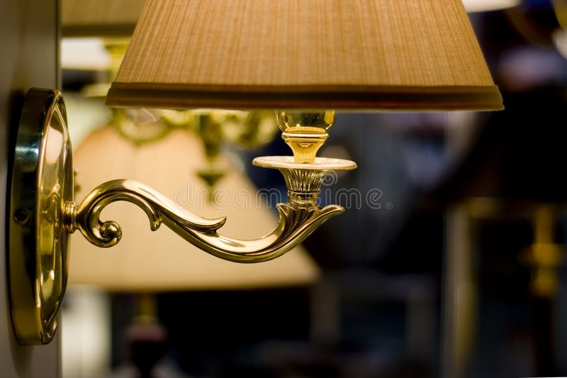 Bedroom lamp stock photo