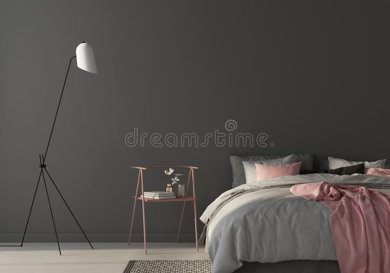 Bedroom with large gray bed and pink chair. 3d render stock illustration