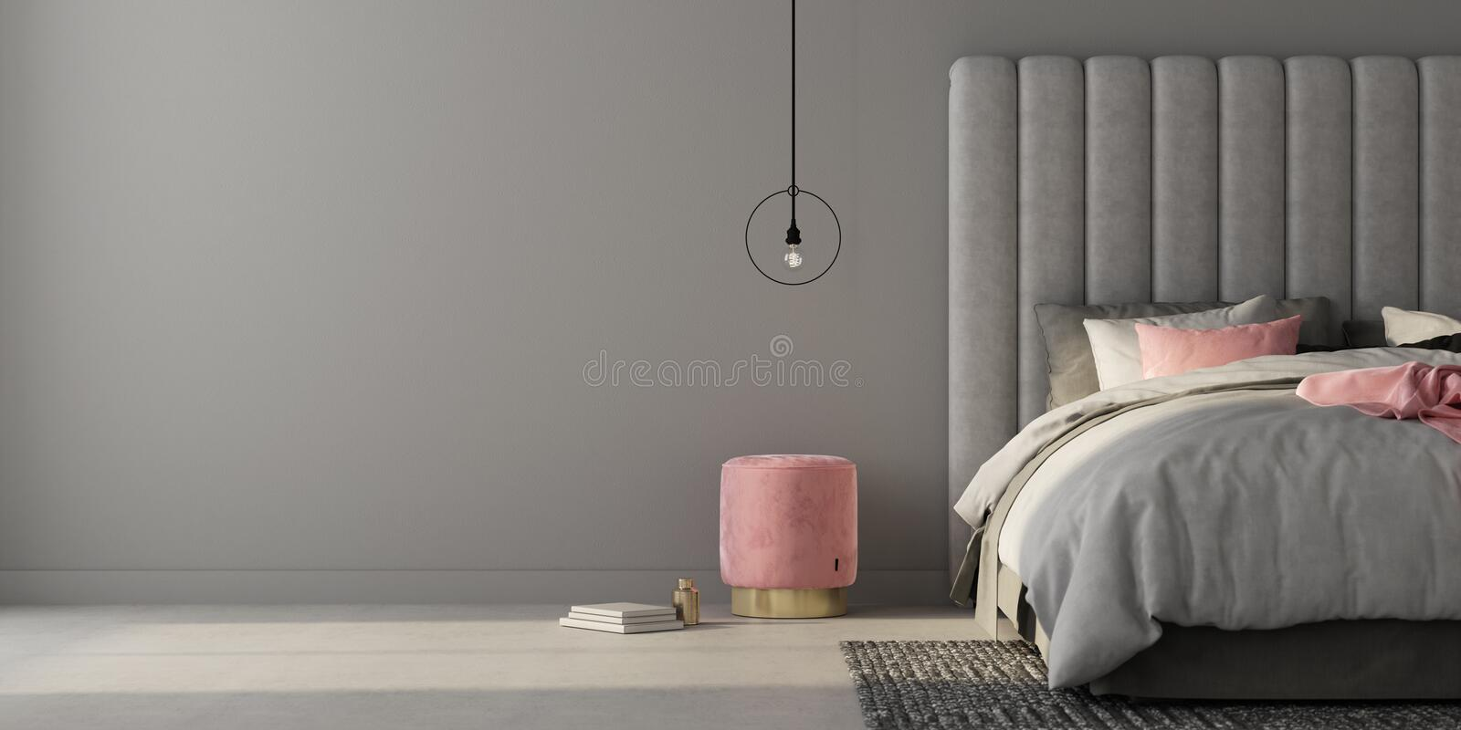 Bedroom with large gray bed and pink pouf. 3d render stock illustration