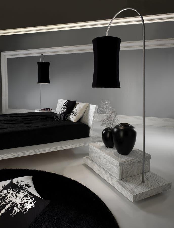 Bedroom with lighting stock photo