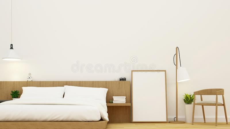 Bedroom and living area for condominium and hotel design - 3d Rendering. For artwork vector illustration
