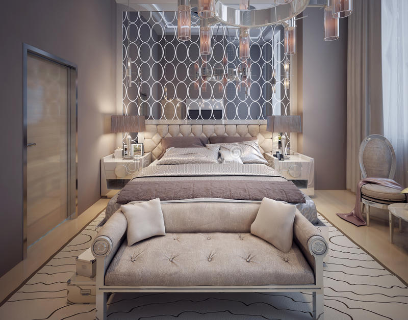 Bedroom in a luxurious modern style. 3d visualisation stock photo