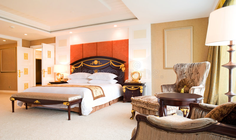 Bedroom Of Luxury Suite In Hotel Stock Photos