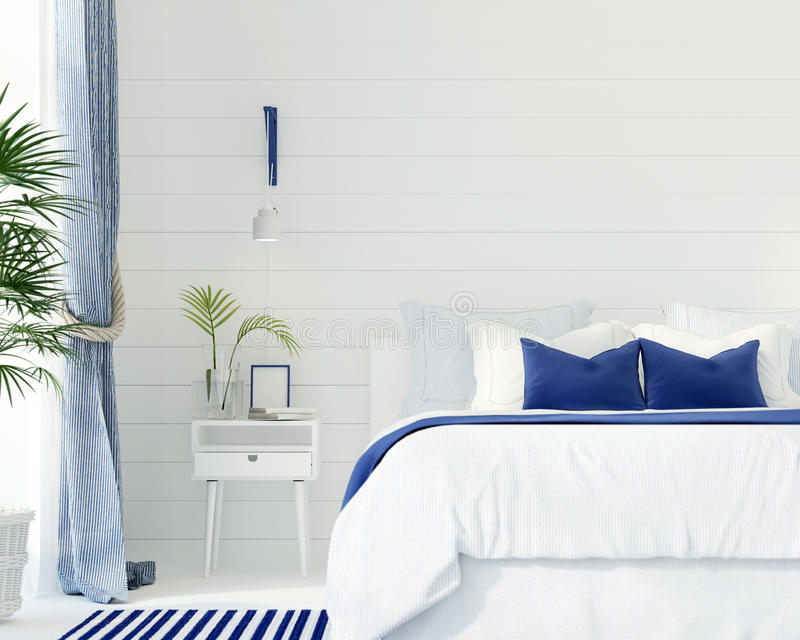 Bedroom in a marine style stock illustration