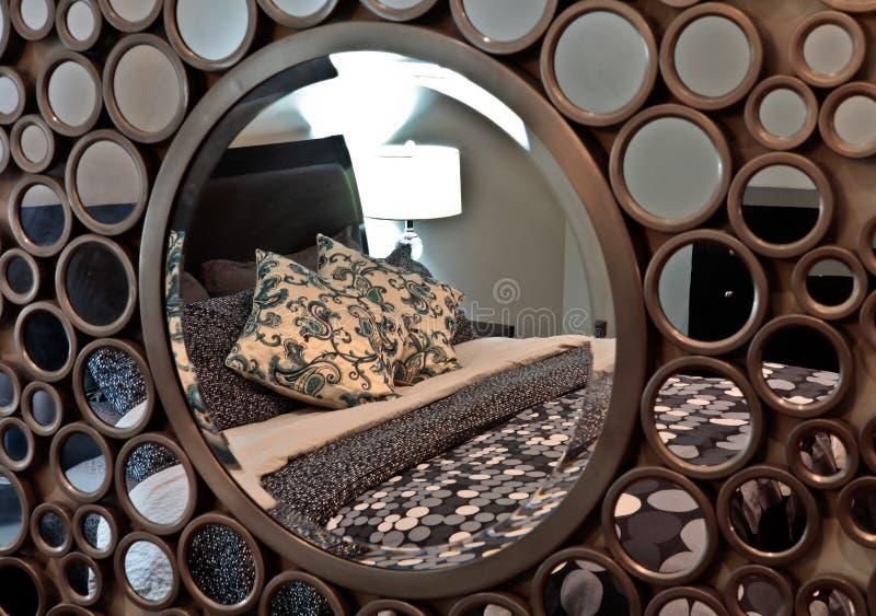 Bedroom mirror stock photography