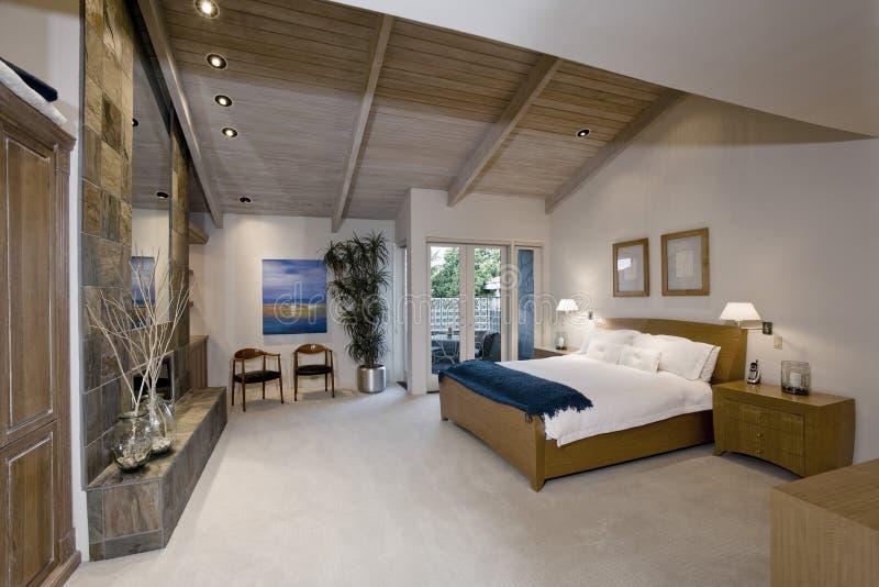 Bedroom in Modern Home stock photos