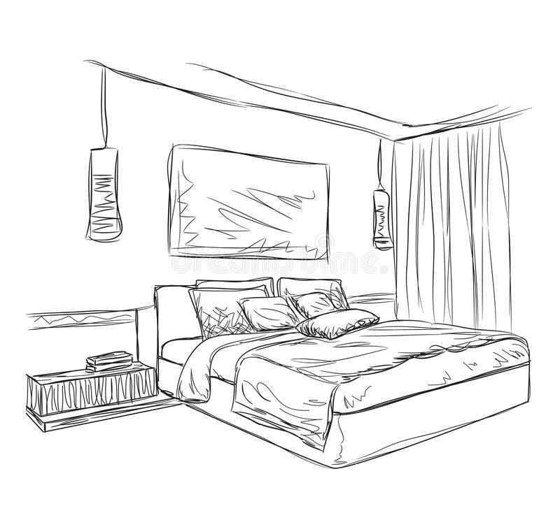 Bedroom Decoration Pictures Bedroom Furniture Drawings Simple Apartment Bedroom Decor Bedroom Black Bed: Bedroom Modern Interior Sketch Stock Vector