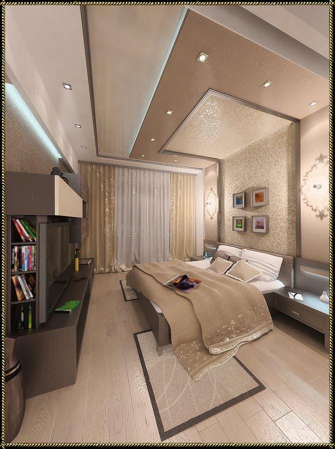 Download Bedroom Modern Style Interior Design, 3D Render Stock Illustration  - Image: 60245349