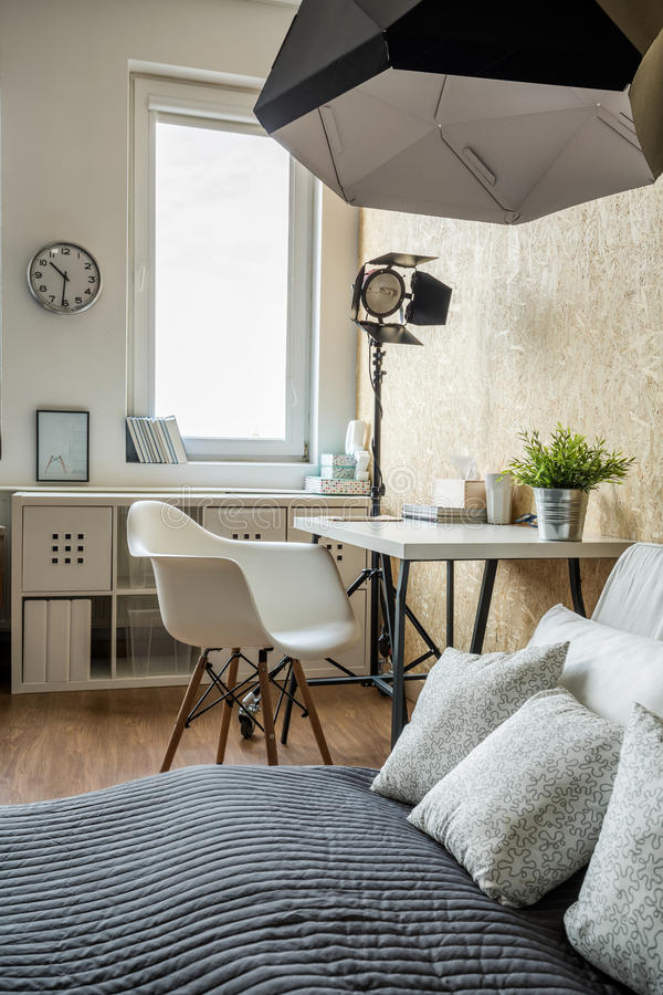 Bedroom in modern style royalty free stock image